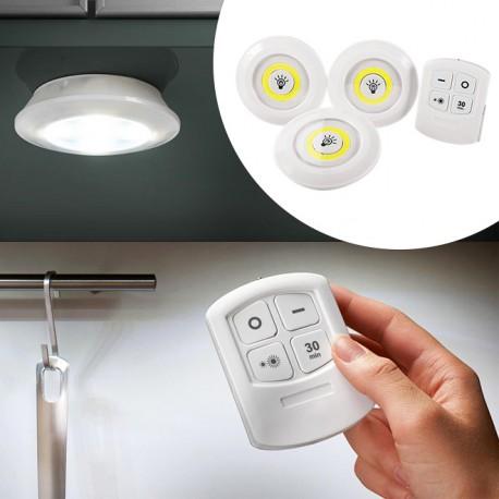 3 luci led senza fili con telecomando al miglior prezzo for Luci led casa prezzo