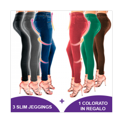 PACK DA 3 LEGGINGS SLIM JEANS MODELLANTI + 1 IN REGALO